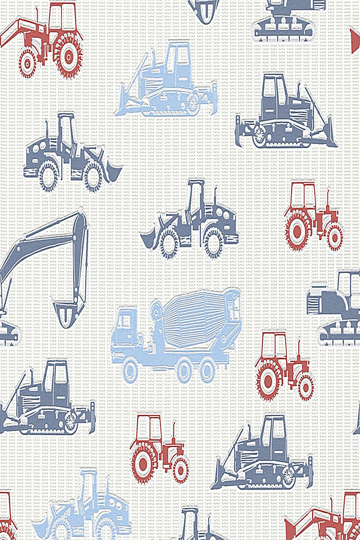 Tractor motif non-woven textile wallpaper, ONE COLOUR, detail image number 0