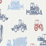 Tractor motif non-woven textile wallpaper, one colour, swatch