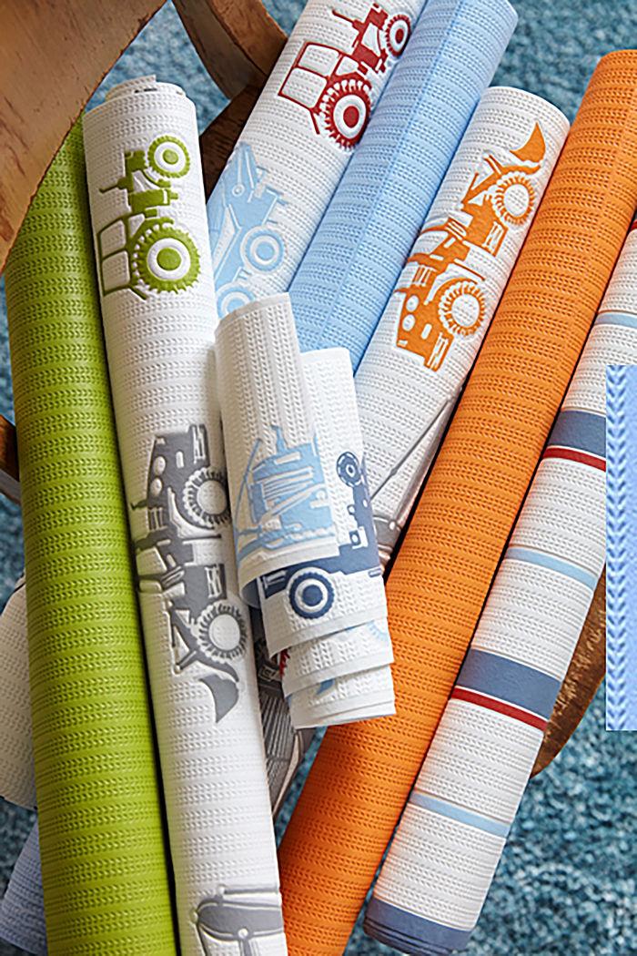 Non-woven textile border with digger motifs
