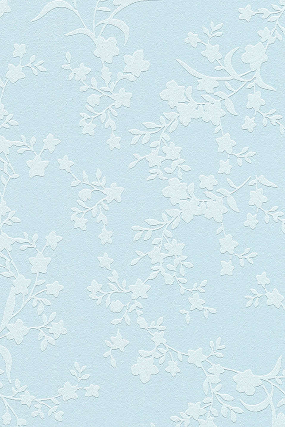 Floral patterned wallpaper in vlies, one colour, detail image number 2