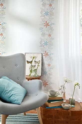 Vlies wallpaper + colourful floral pattern