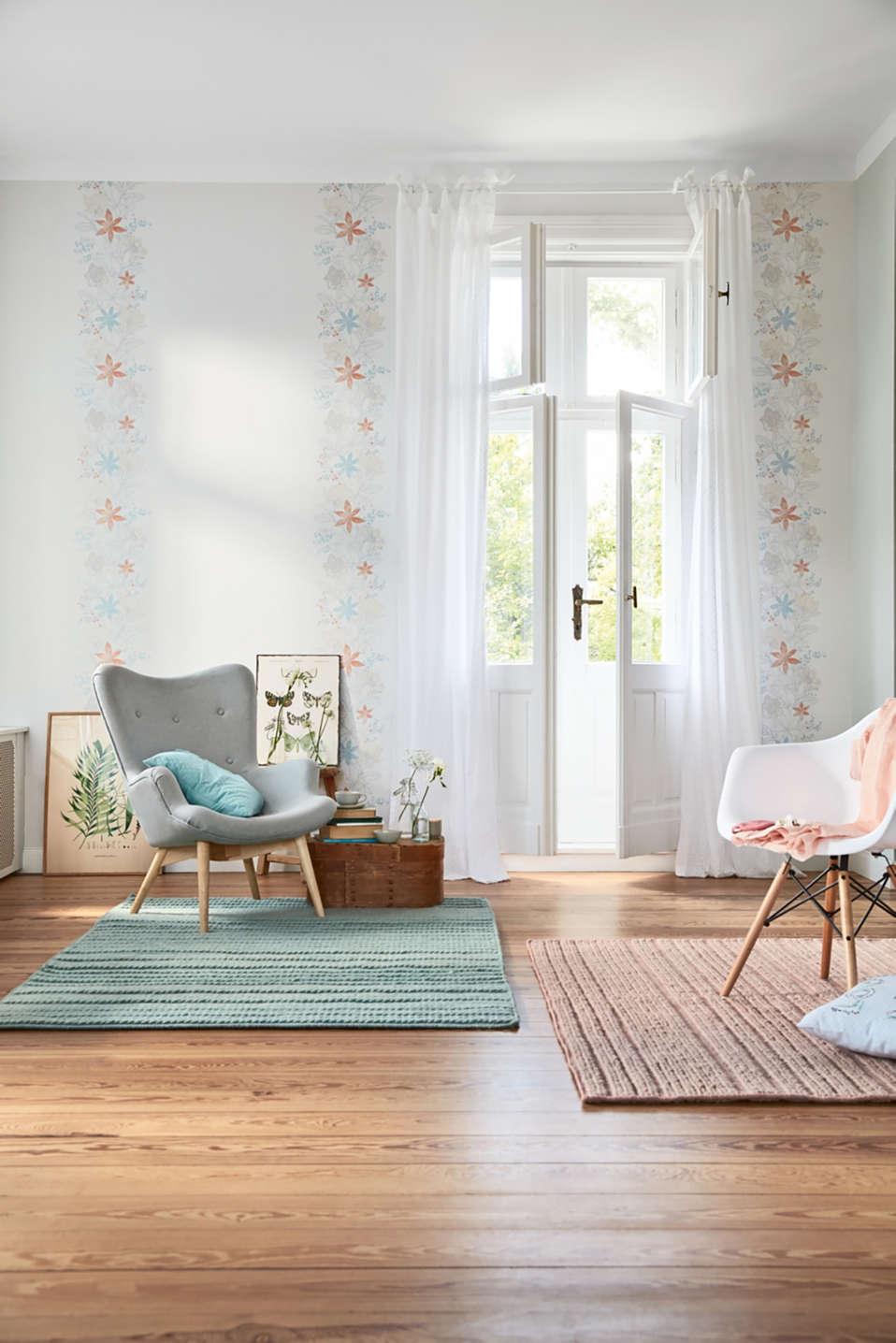Non-woven textile wallpaper, plain pattern, one colour, detail image number 2