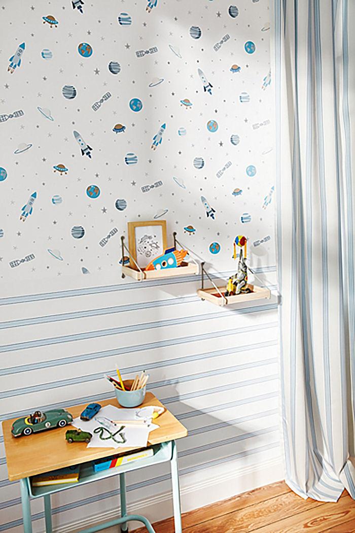 Nautical stripe vlies wallpaper, ONE COLOUR, detail image number 1