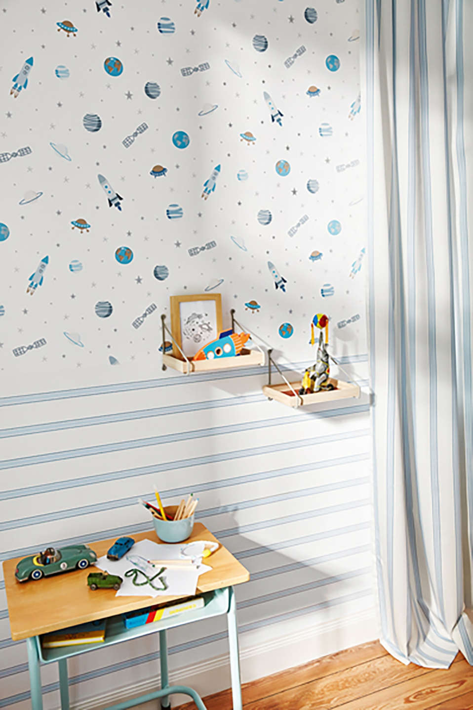 Nautical stripe vlies wallpaper