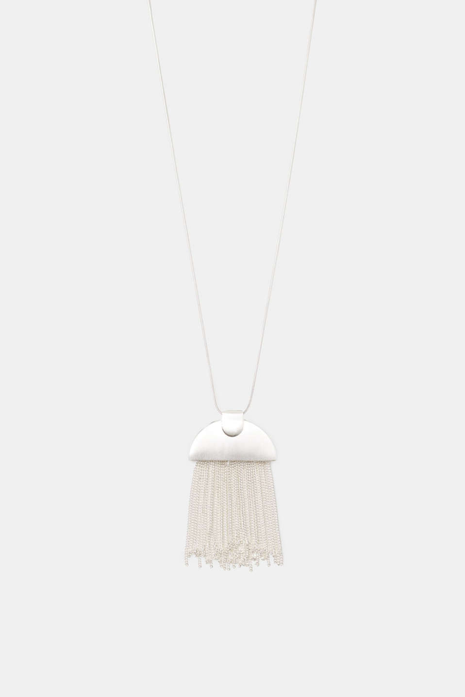 We love minimalist designs! The semicircular pendant with metal fringing is the eye-catching element of this necklace.