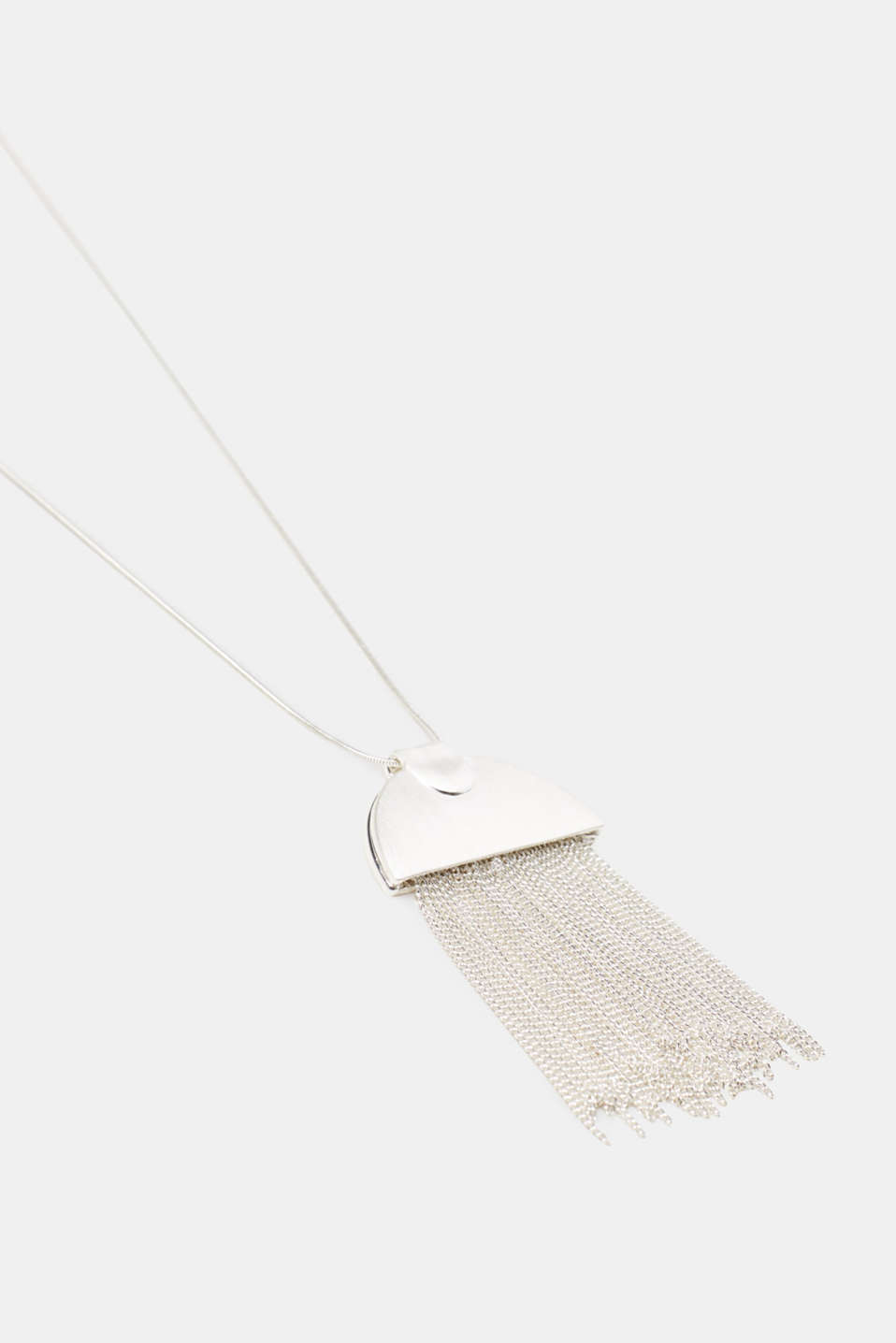 Long necklace with a round fringed pendant