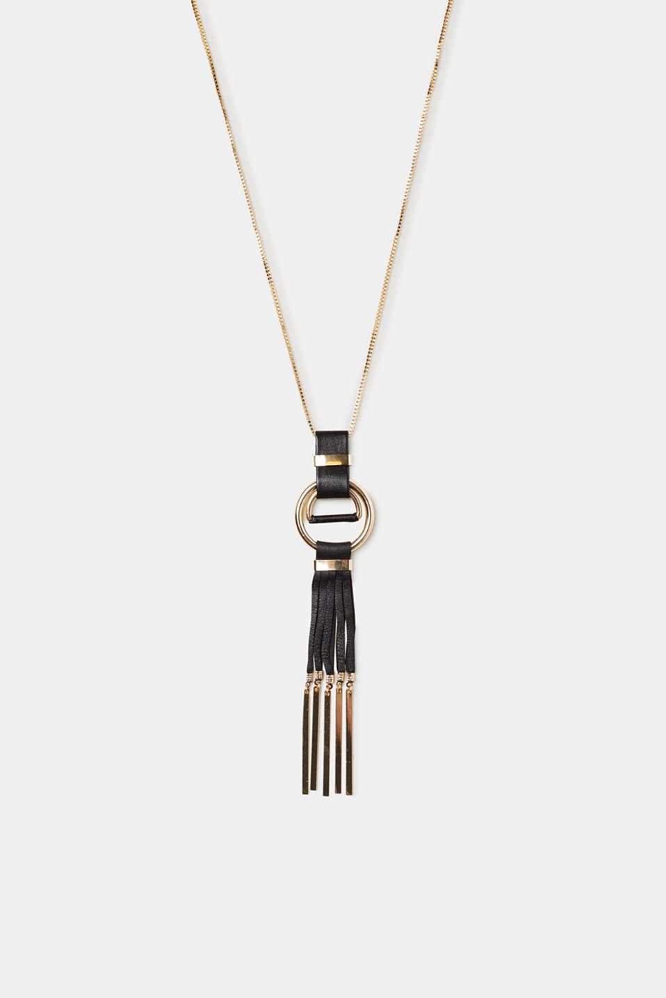 Esprit - Long necklace with a faux leather tassel