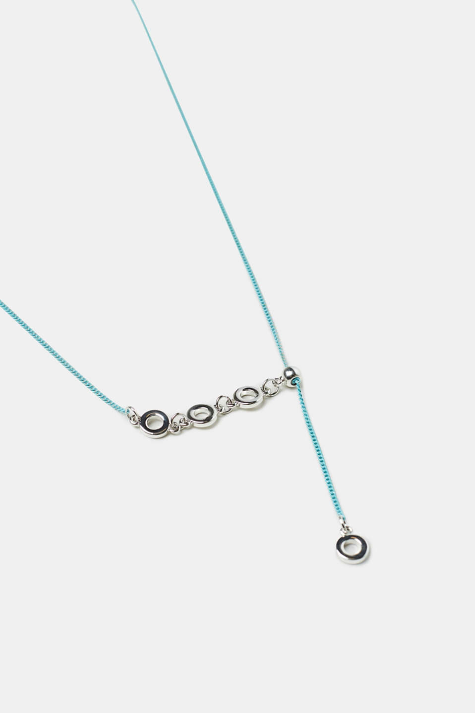 Pendulum necklace with four metal rings