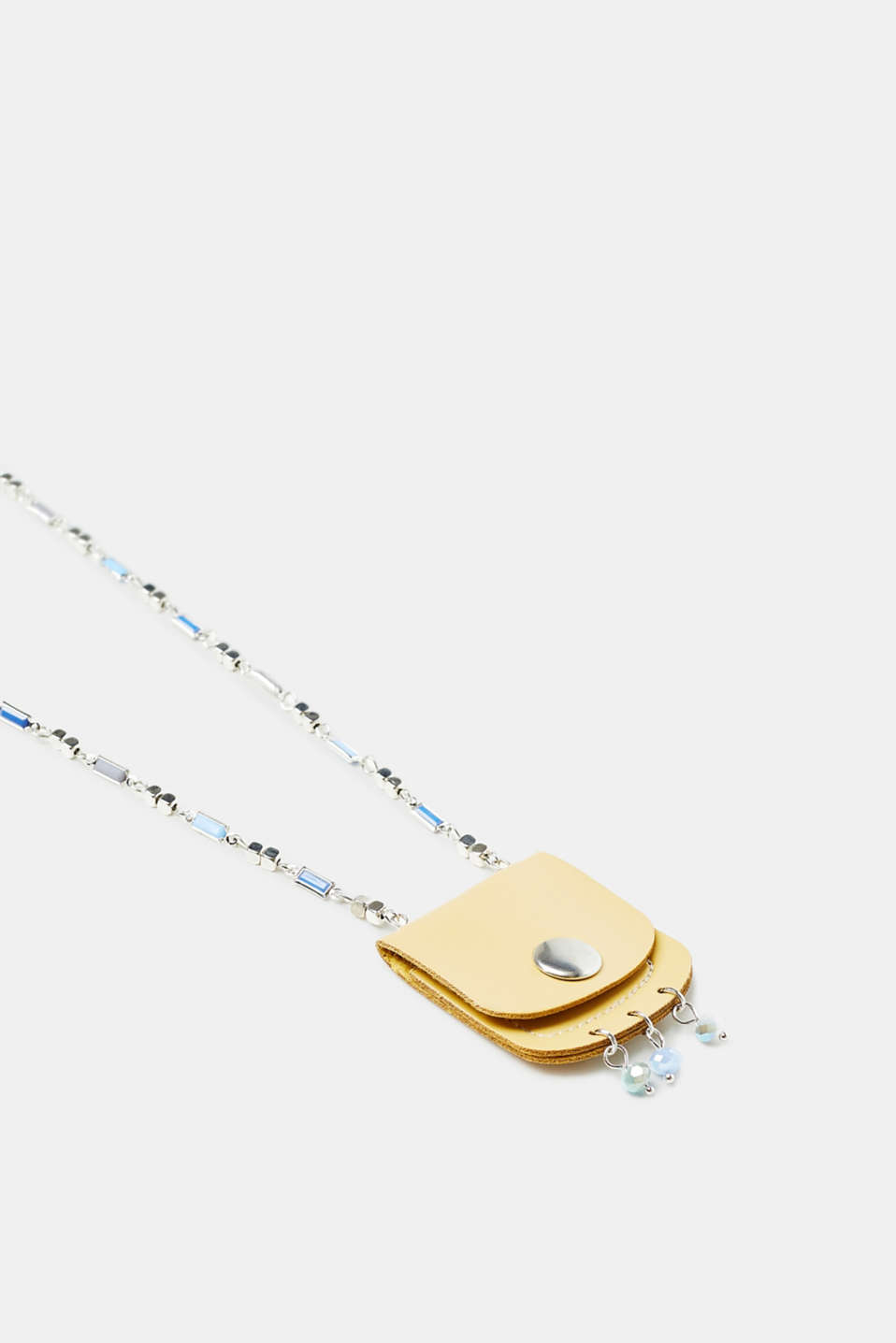Collier long à petit sac en similicuir