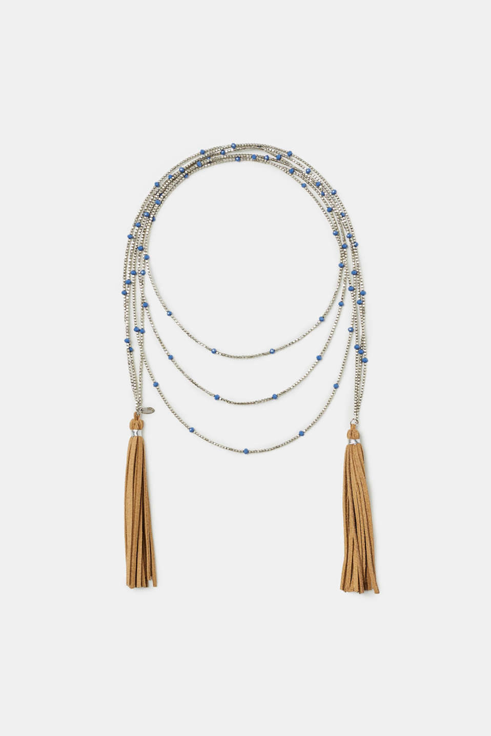 Esprit - Beaded necklace with faux leather tassels