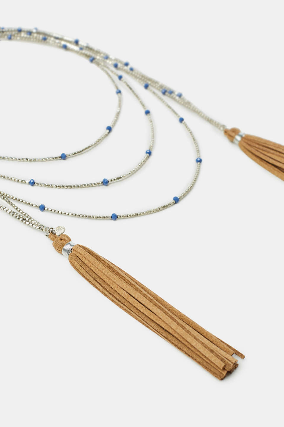 Beaded necklace with faux leather tassels