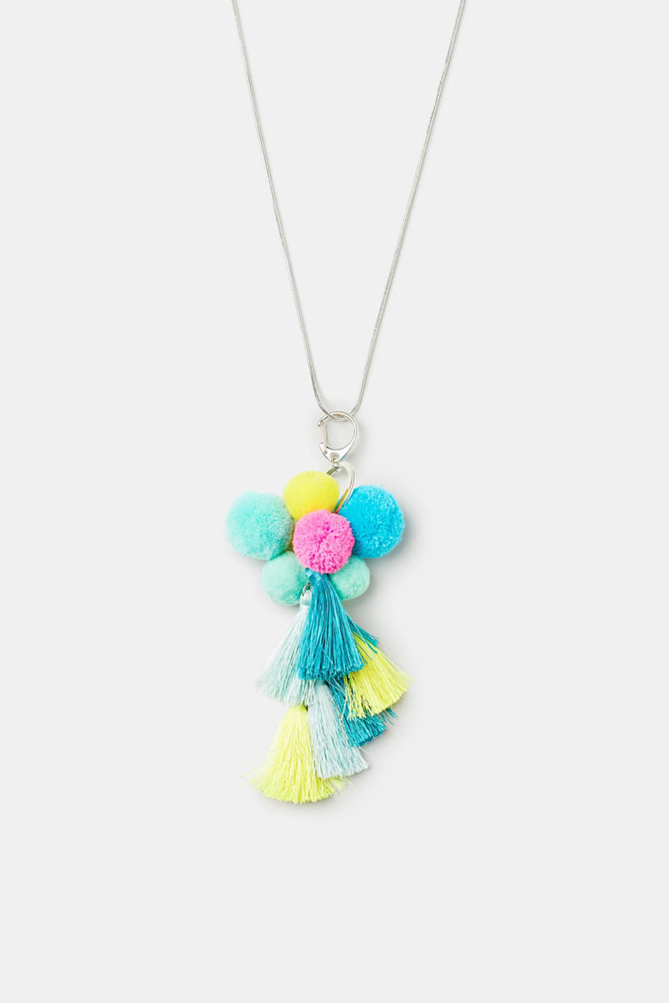 Esprit - Long necklace with bright pompoms