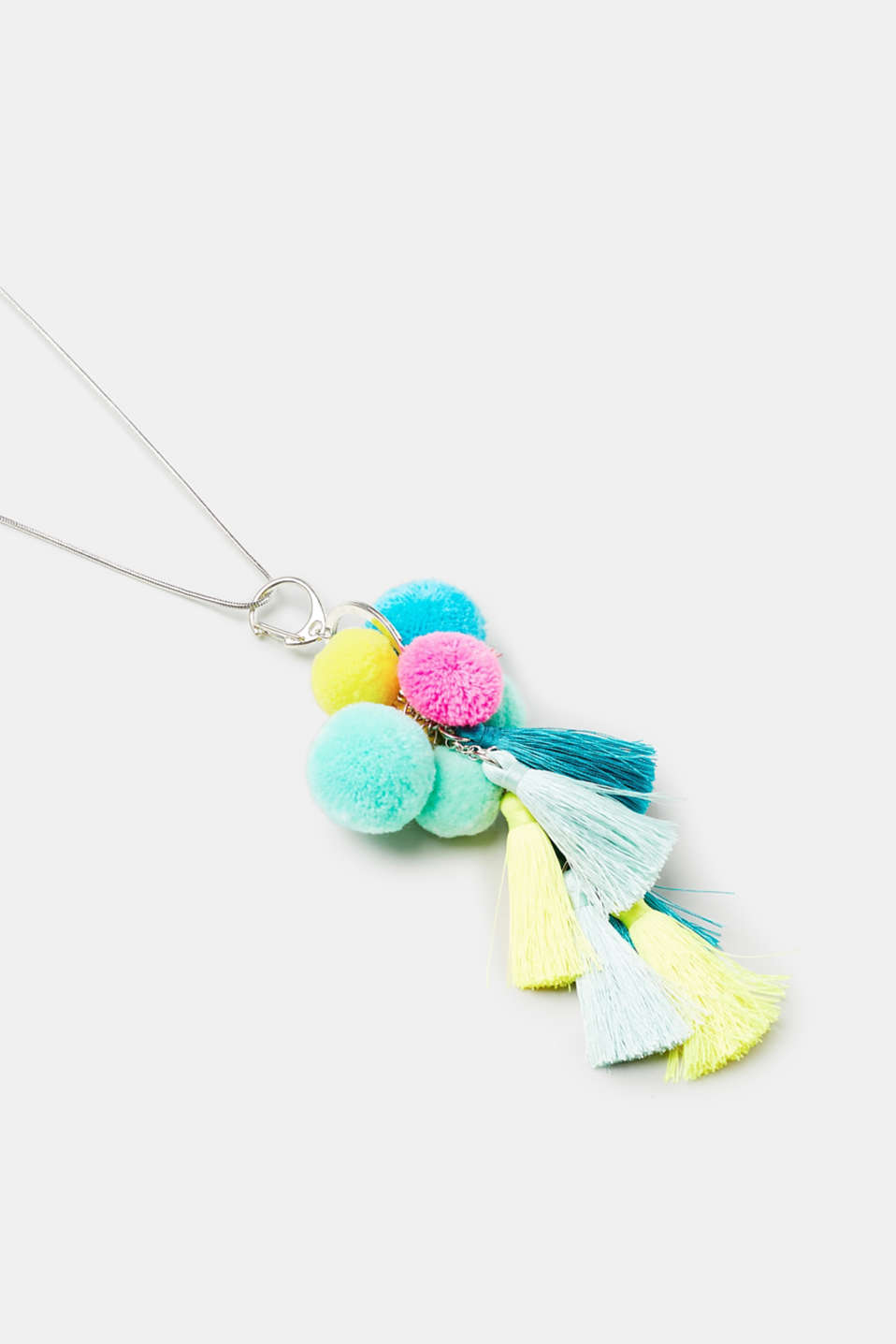 Long necklace with bright pompoms