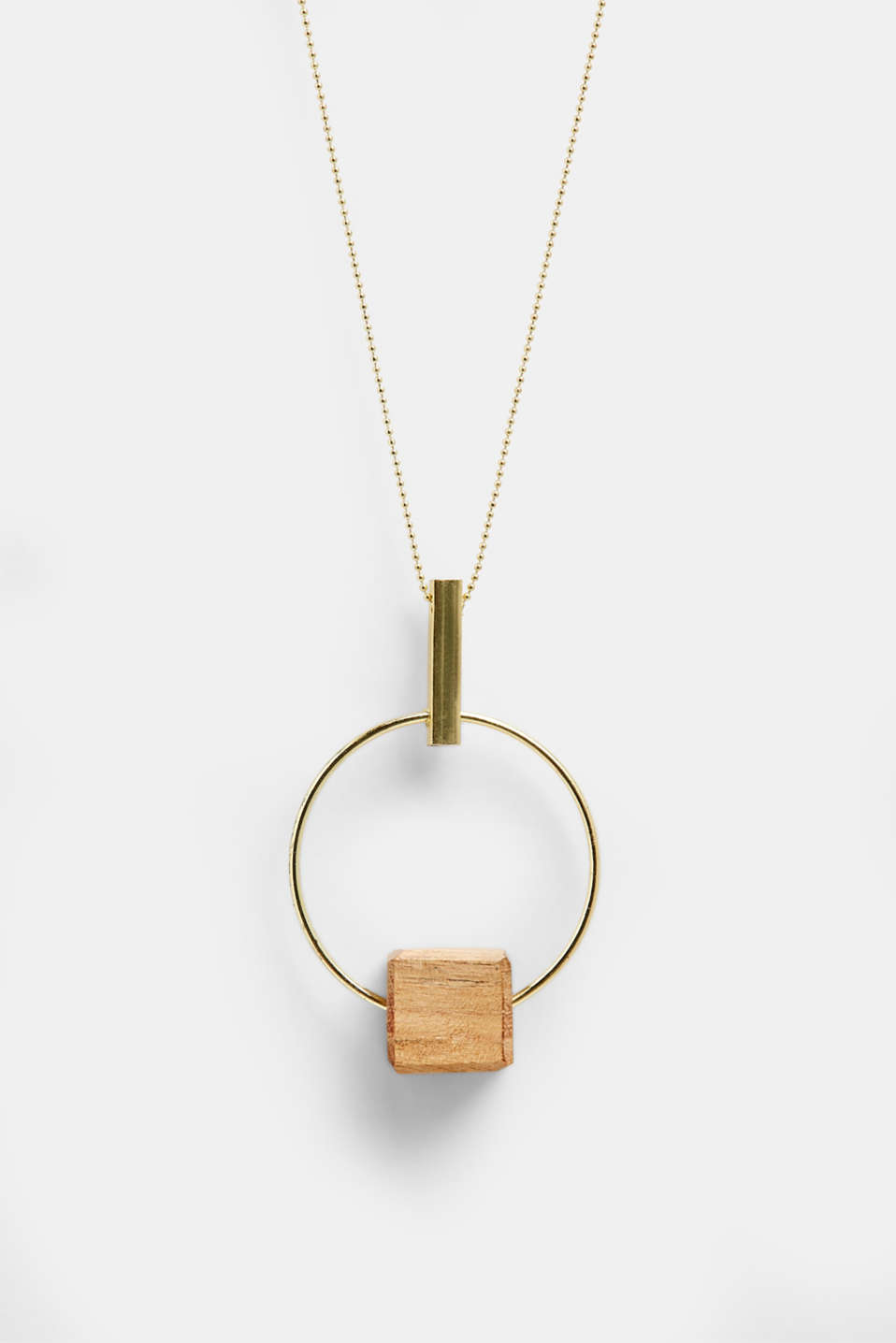 Esprit - Long necklace with a ring pendant and wooden dice