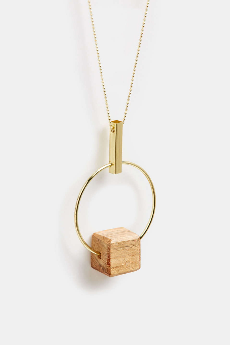 Long necklace with a ring pendant and wooden dice, GOLD, detail image number 1