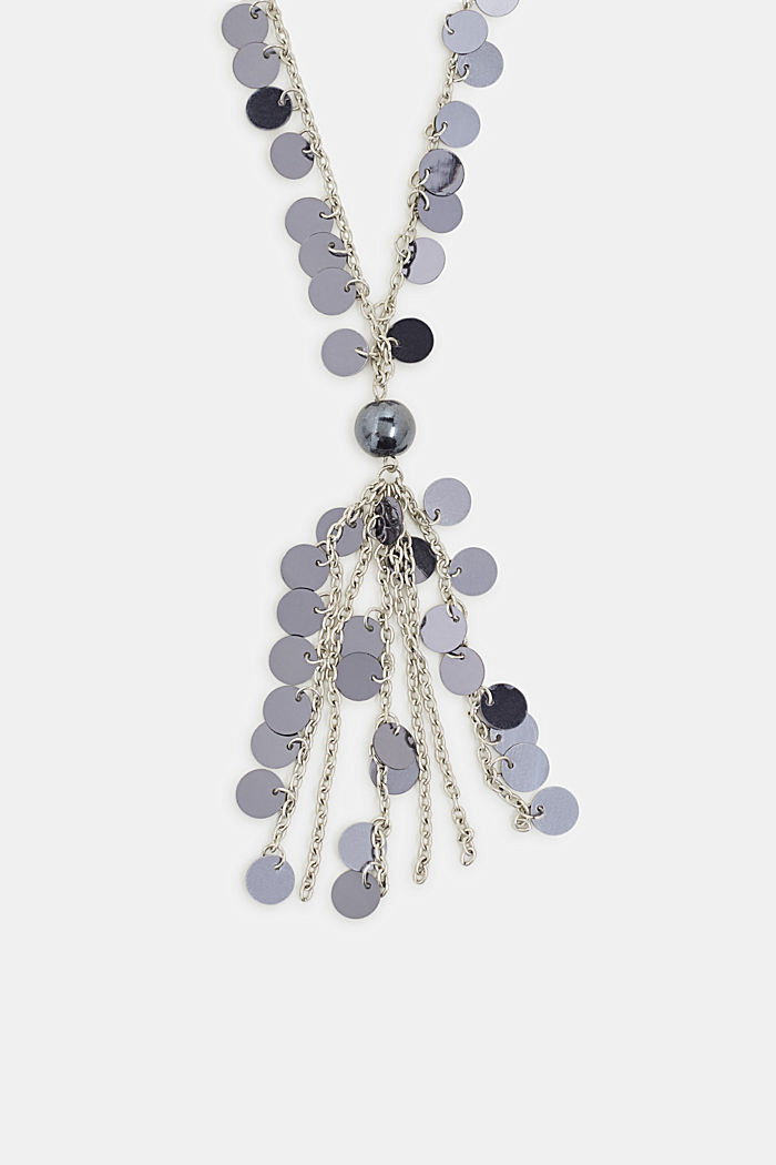 Long necklace with sequins, SILVER, detail image number 0