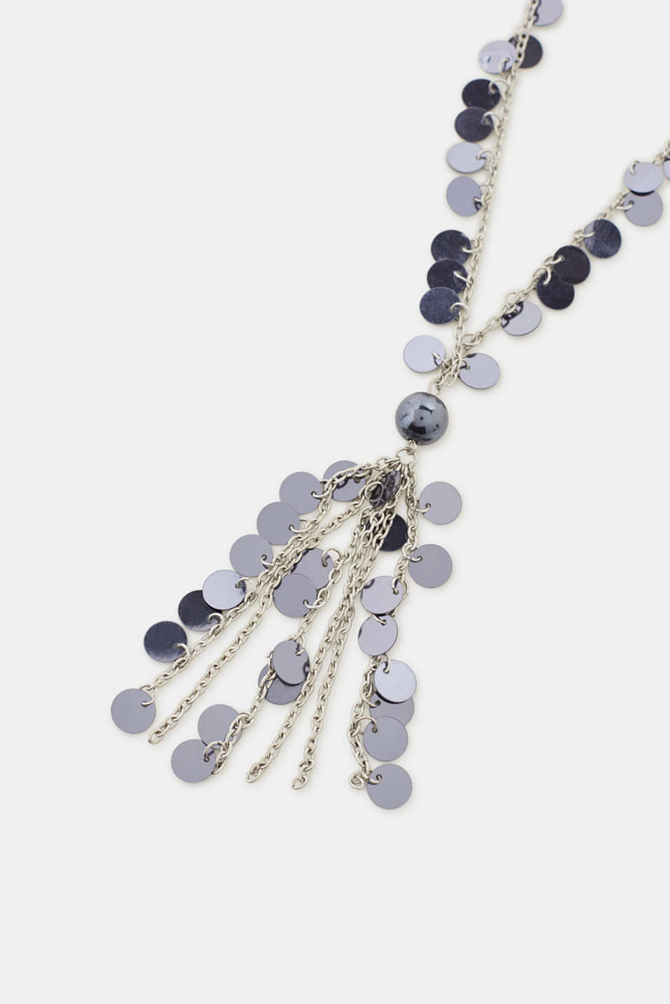 Long necklace with sequins, SILVER, detail image number 1