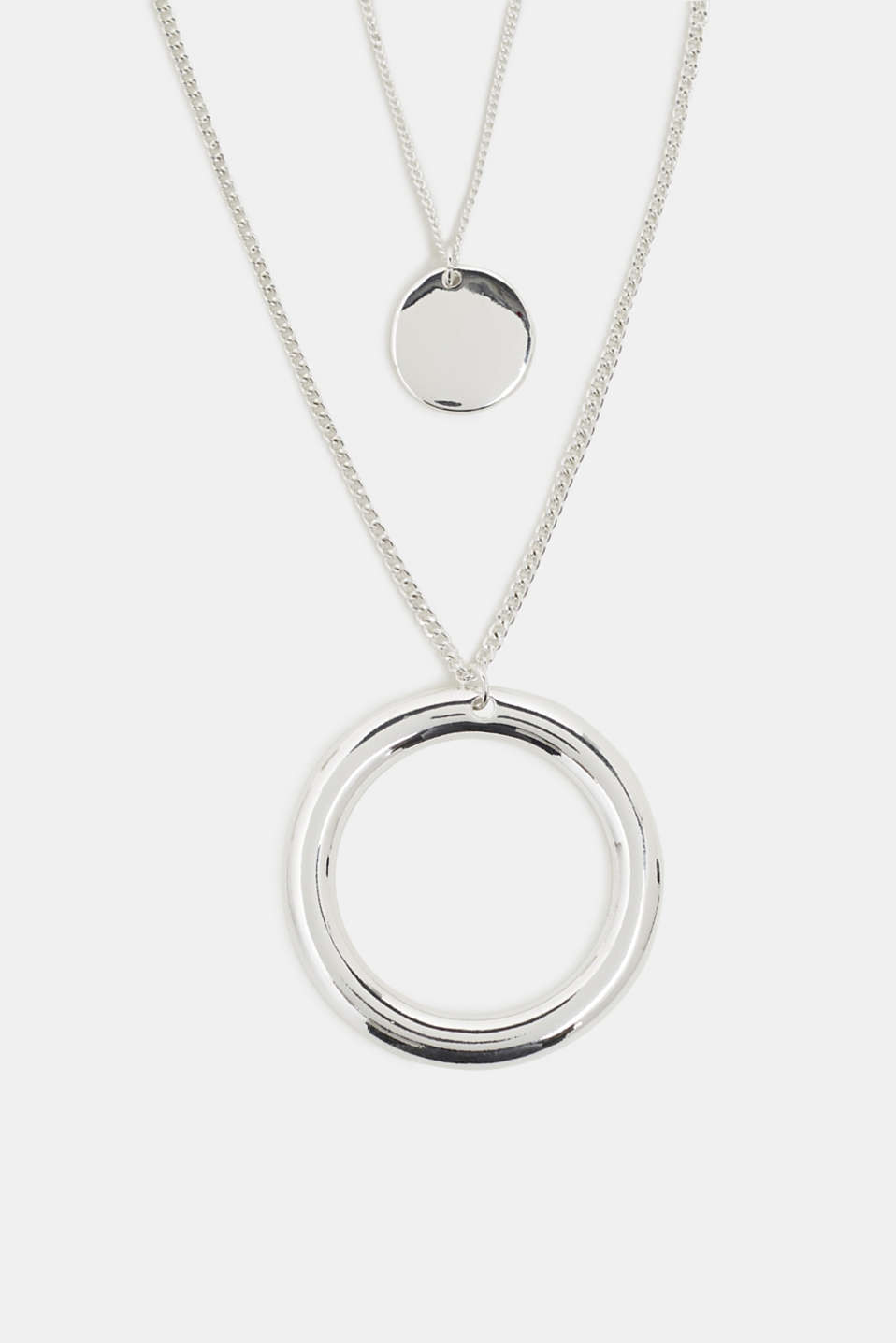 Double strand necklace with ring pendant, SILVER, detail image number 1
