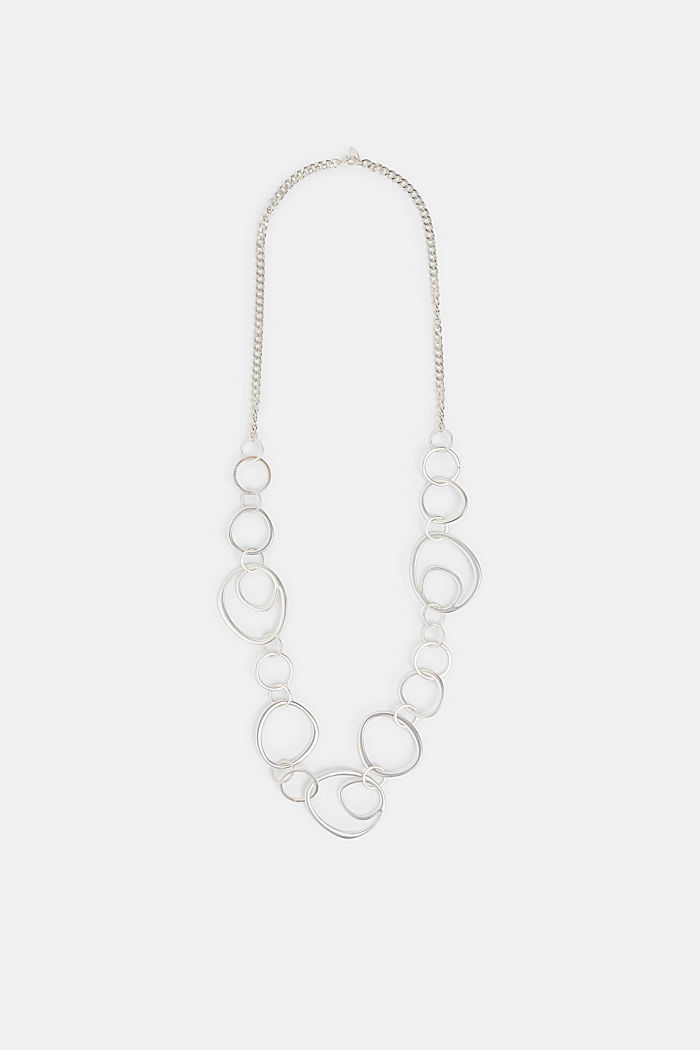 Long necklace with metal rings, SILVER, detail image number 0