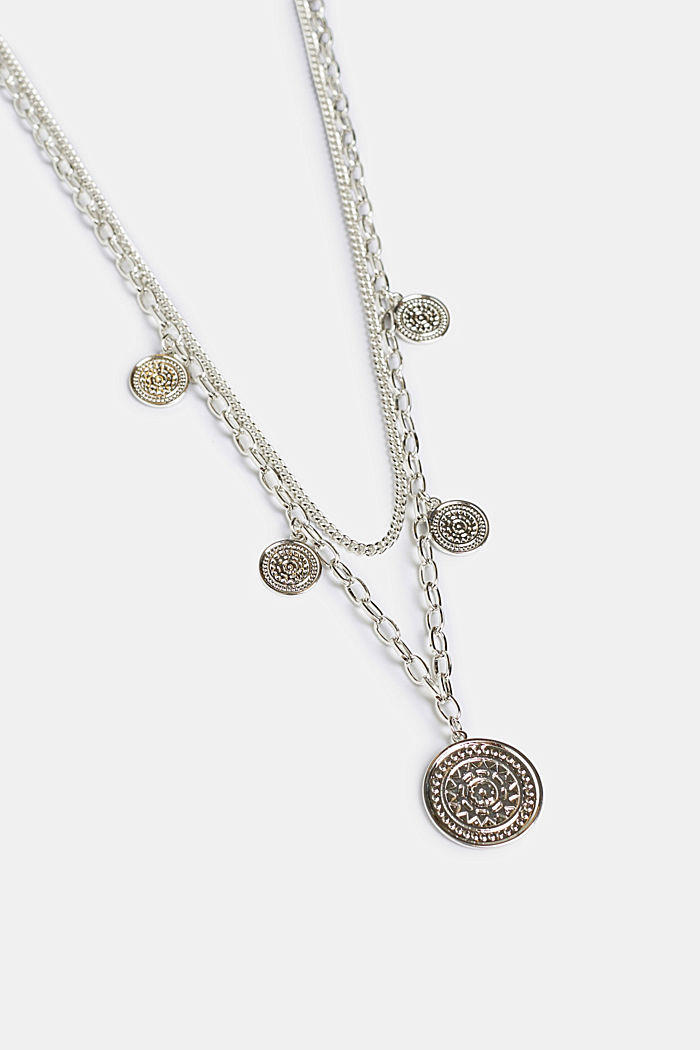 Double-strand necklace with coin pendants, metal, SILVER, detail image number 0