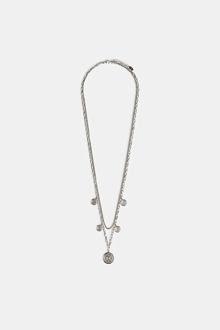 Double-strand necklace with coin pendants, metal, SILVER, detail image number 1