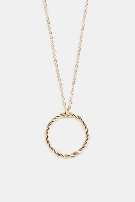 Long metal chain with ring pendant, 1COLOR, detail