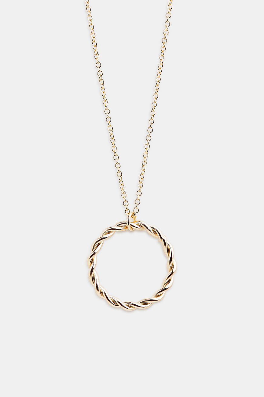 Long metal chain with ring pendant