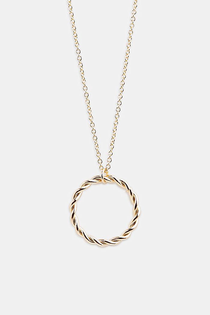 Lange metalen ketting met ringvormige hanger, GOLD, detail image number 0