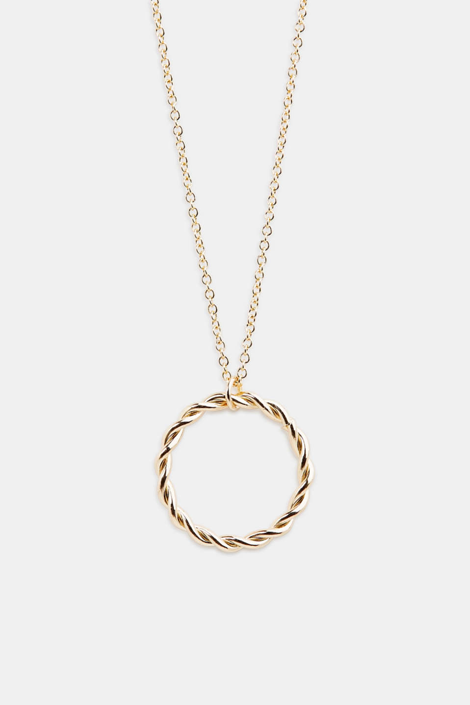 Long metal chain with ring pendant, 1COLOR, detail image number 0