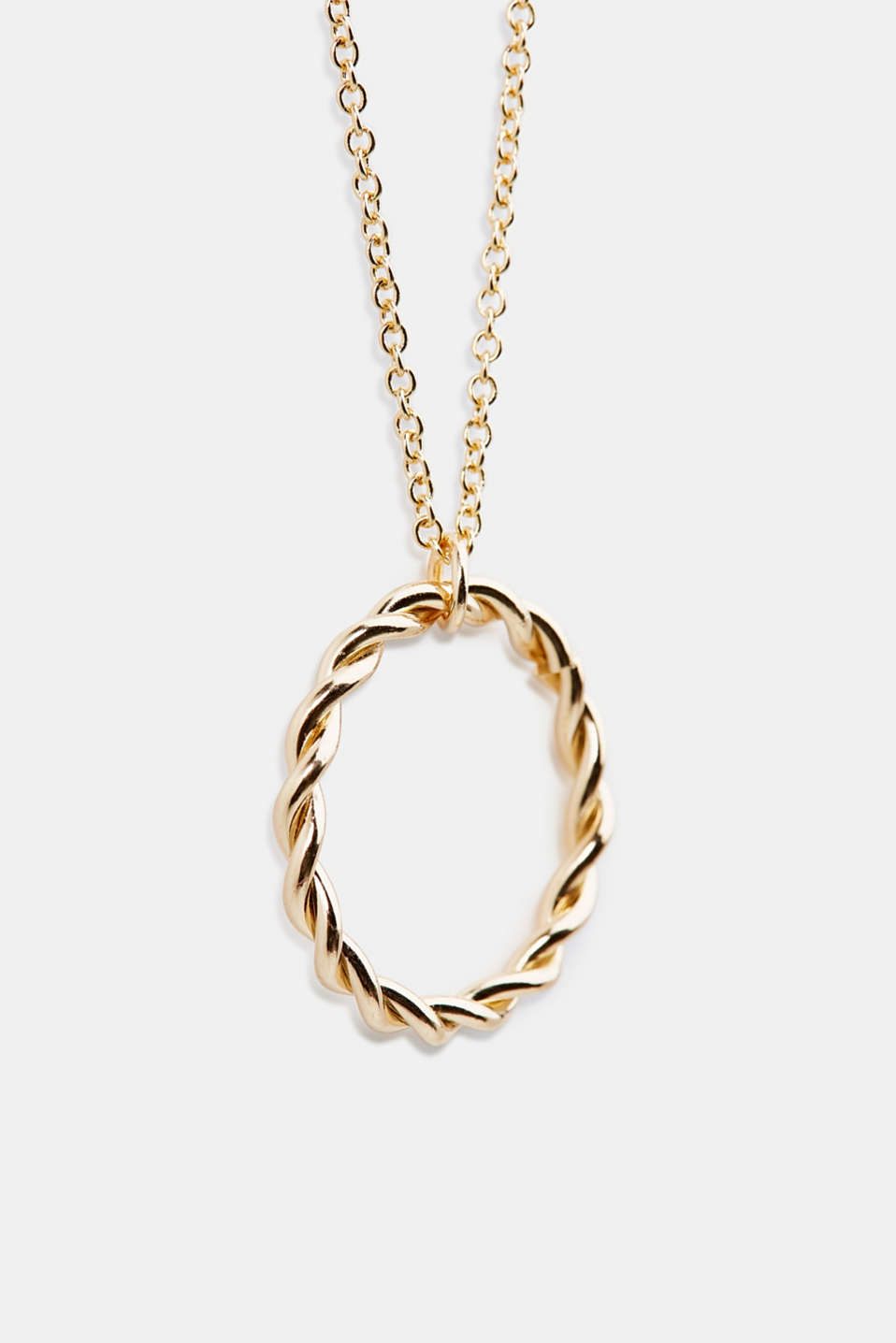 Long metal chain with ring pendant, 1COLOR, detail image number 1