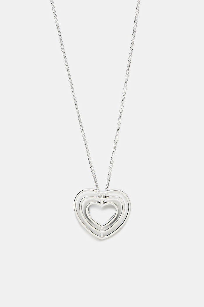 Long necklace with a heart pendant, ONE COLOUR, detail image number 0