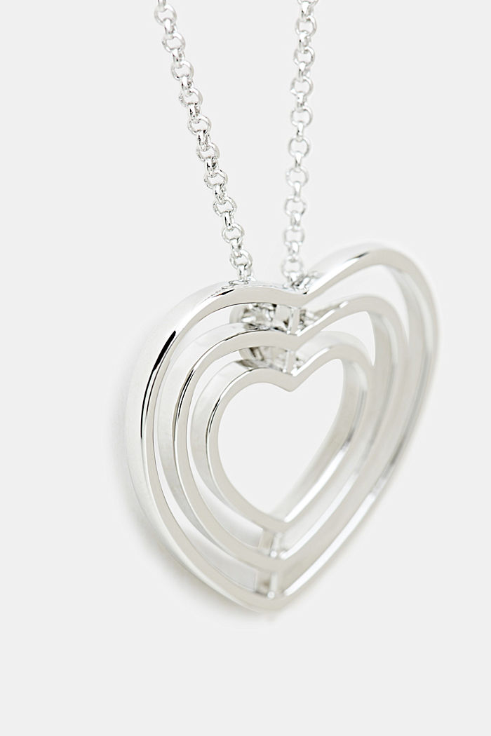 Long necklace with a heart pendant, ONE COLOUR, detail image number 1