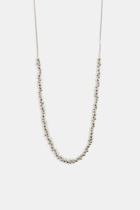 Long necklace with metallic beads