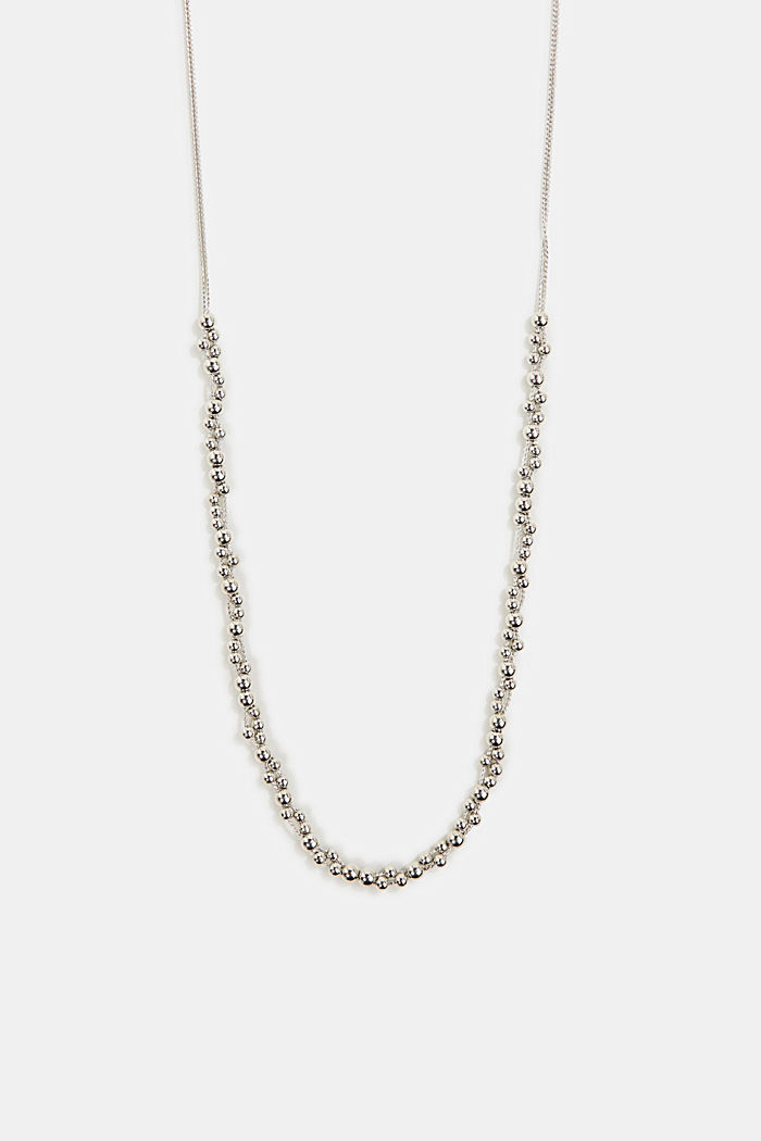 Long necklace with metallic beads, SILVER, overview