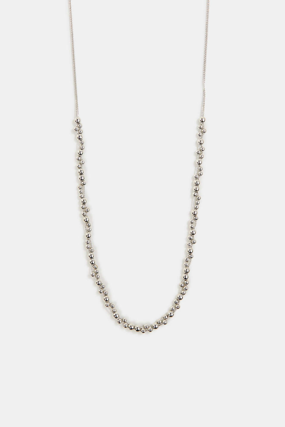 Long necklace with metallic beads, 1COLOR, detail image number 0