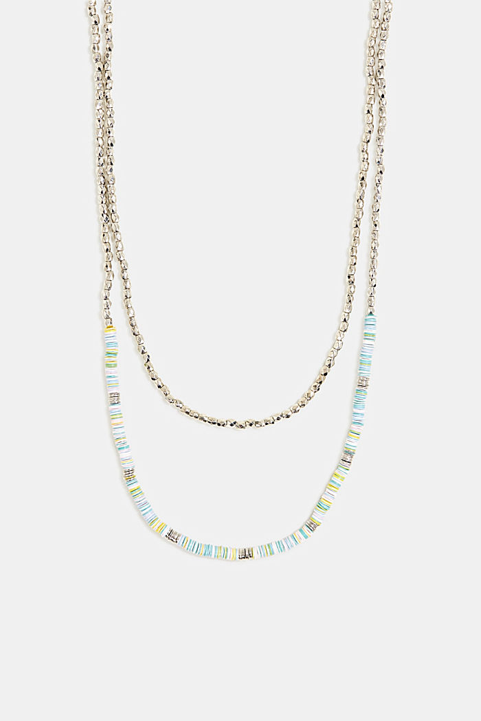 Double strand necklace with beads and rings