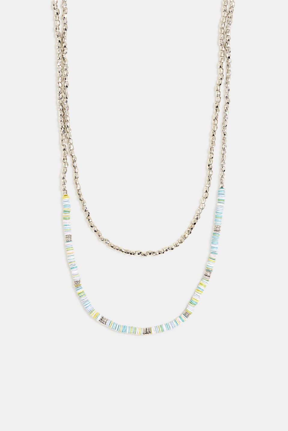 Double strand necklace with beads and rings, 1COLOR, detail image number 0