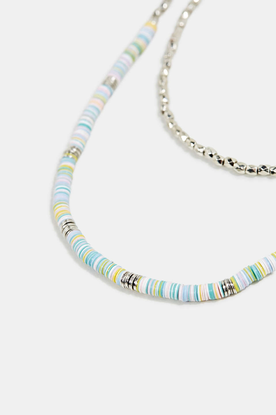 Double strand necklace with beads and rings, 1COLOR, detail image number 1