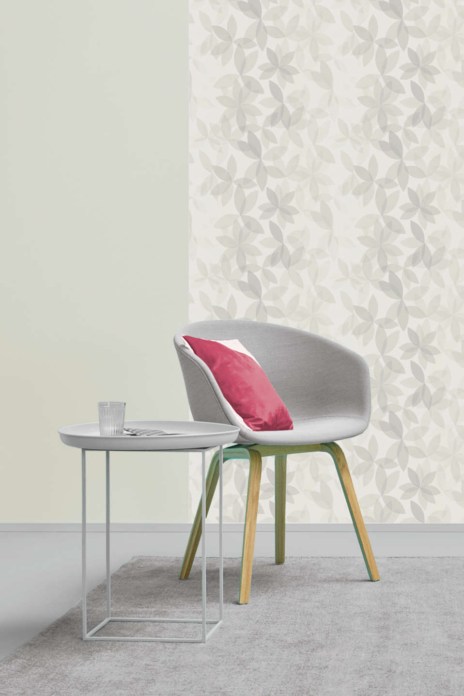 Non-woven wallpaper with a floral pattern, one colour, detail image number 2