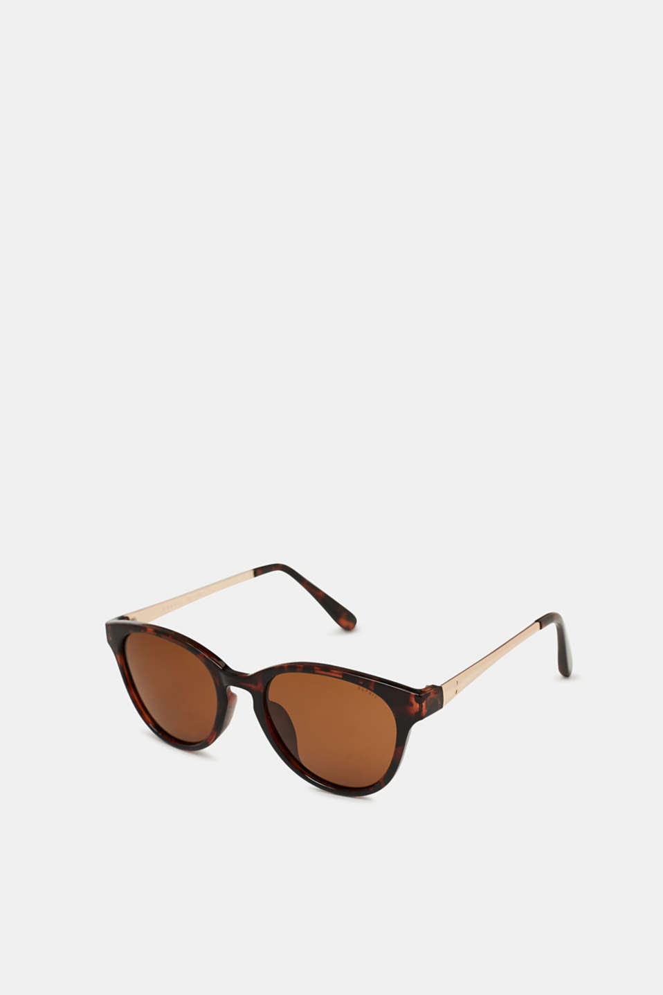 Polished metal temples and a modern design make these sunglasses a stylish accessory.