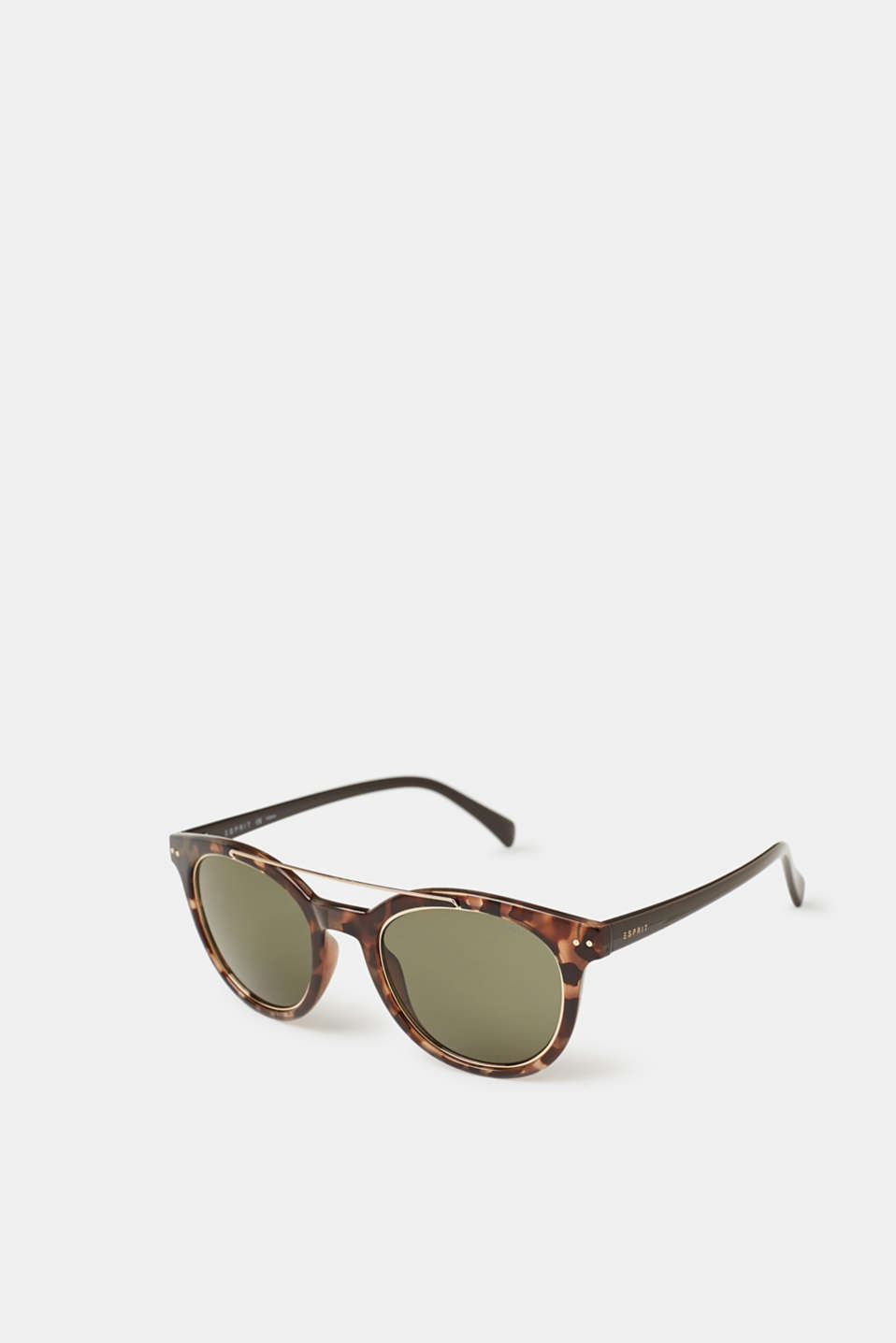 These synthetic sunglasses with fine metal temples are an inspired fashion piece in a modern, vintage look.