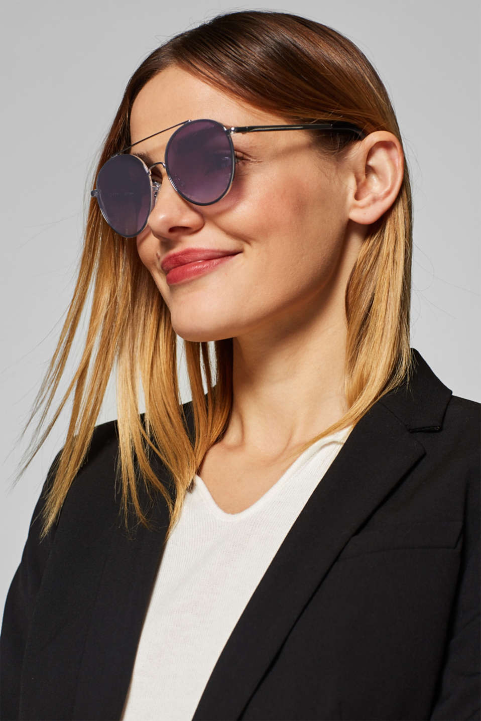 Sunglasses with metal frames, BLACK, detail image number 2