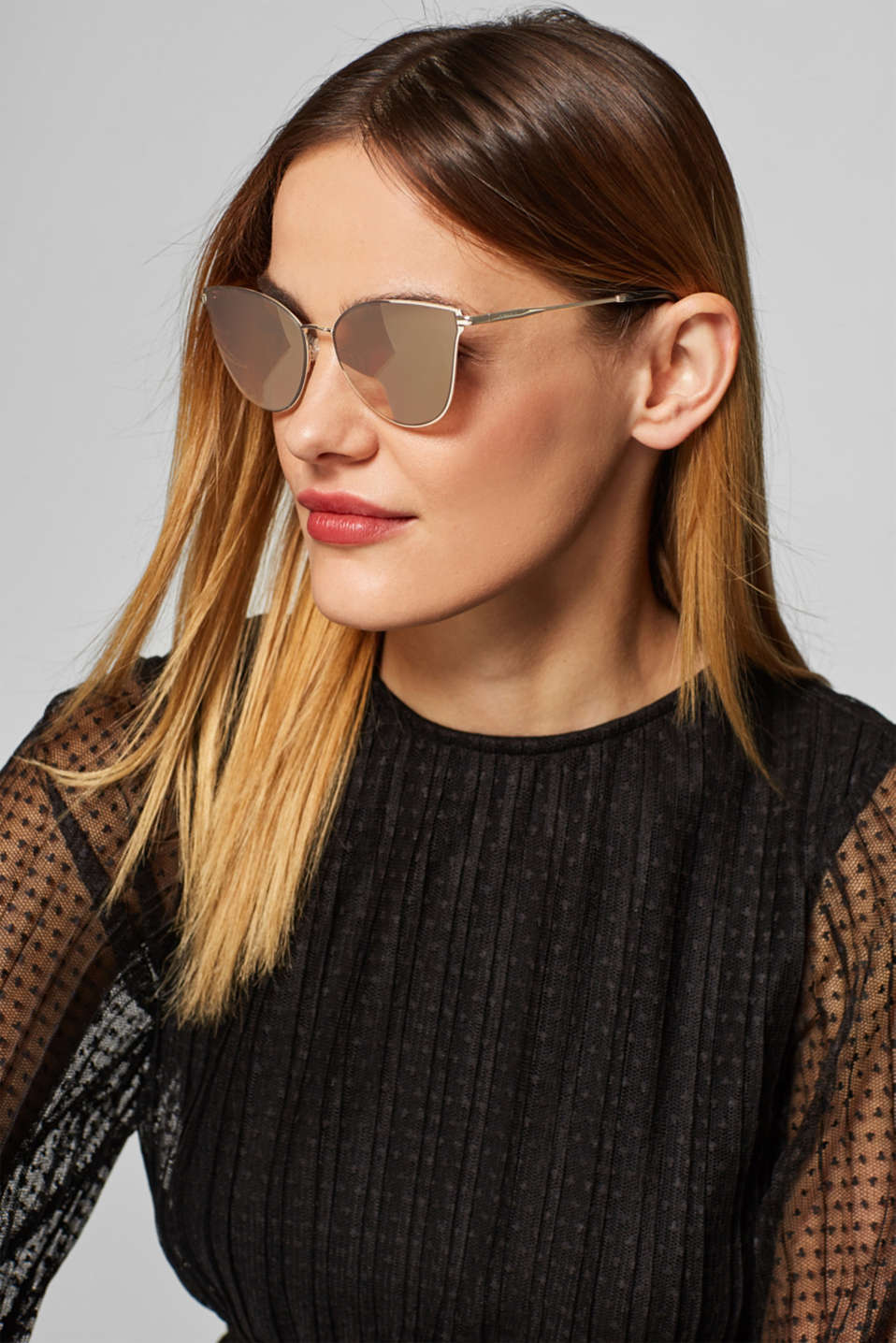 Sunglasses with mirrored lenses, GOLD, detail image number 2