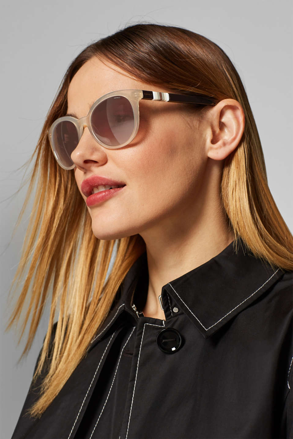 Sunglasses with a striped detail, BEIGE, detail image number 2