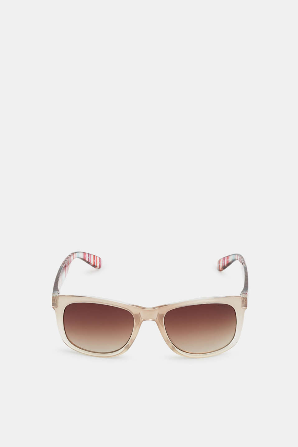 Sunglasses with vibrant, striped temples, BEIGE, detail image number 0