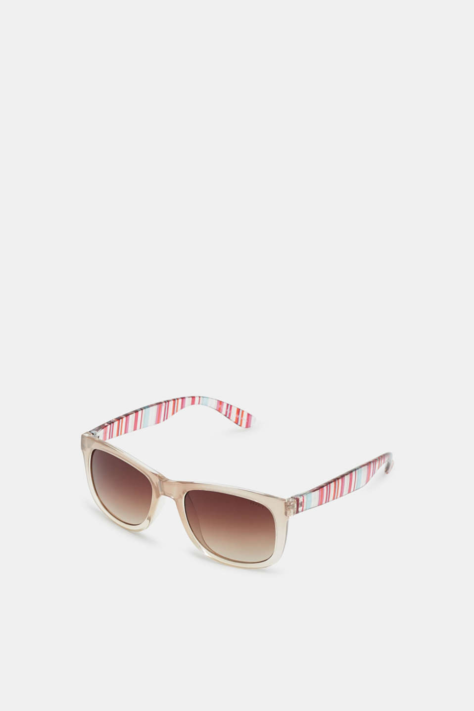 Sunglasses with vibrant, striped temples, BEIGE, detail image number 1