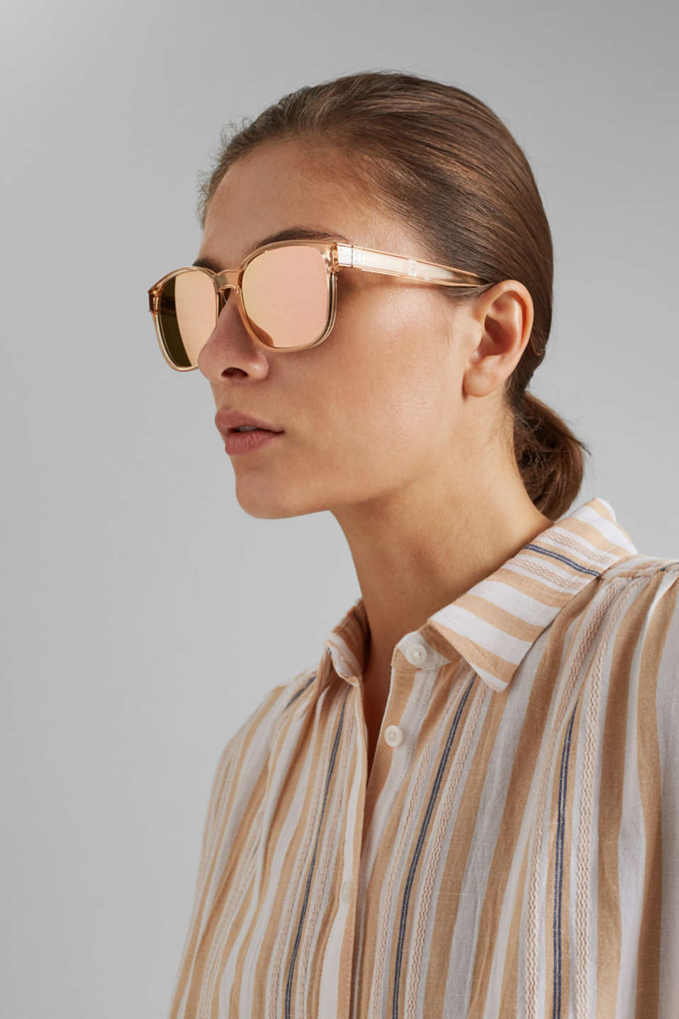 Unisex sunglasses with mirrored lenses, BEIGE, detail image number 2