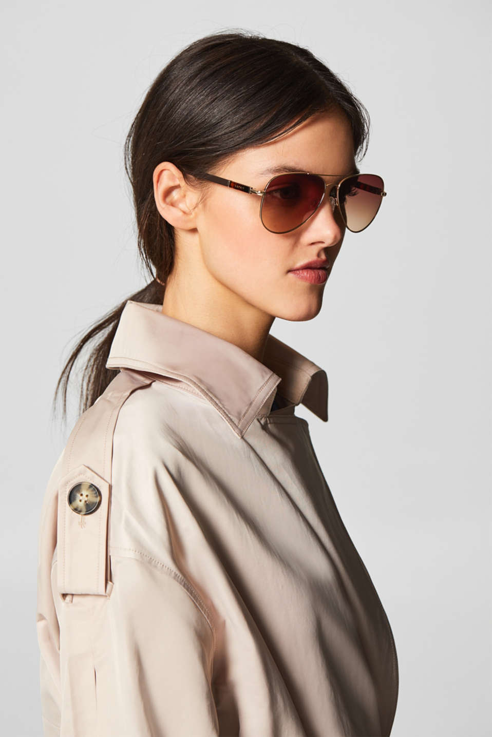 Aviator-style sunglasses, BROWN, detail image number 2