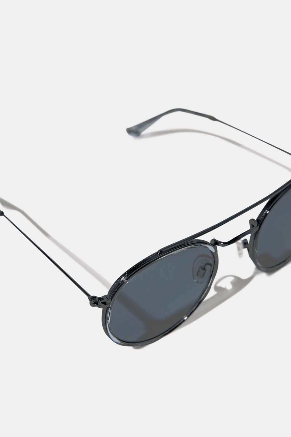 Round sunglasses with a metal frame, LCBLUE, detail image number 1