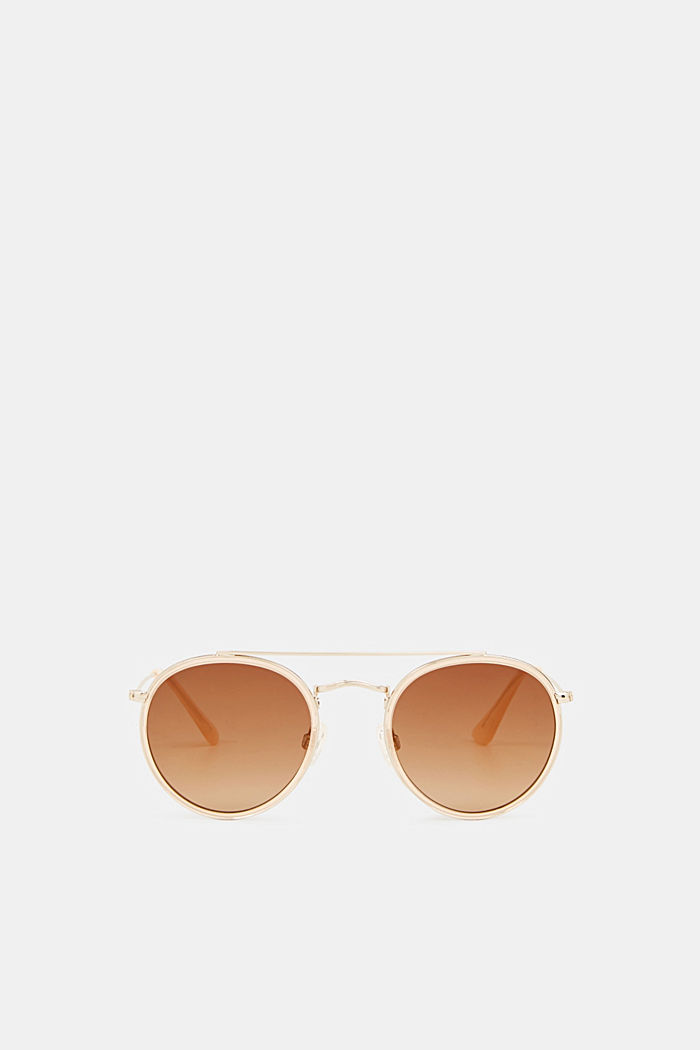 Round sunglasses with a metal frame, BEIGE, detail image number 0